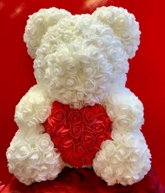 Foam Rose Valentines Bear